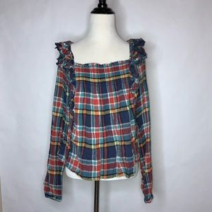 Free People | Siena Navy Combo Plaid Top NWT